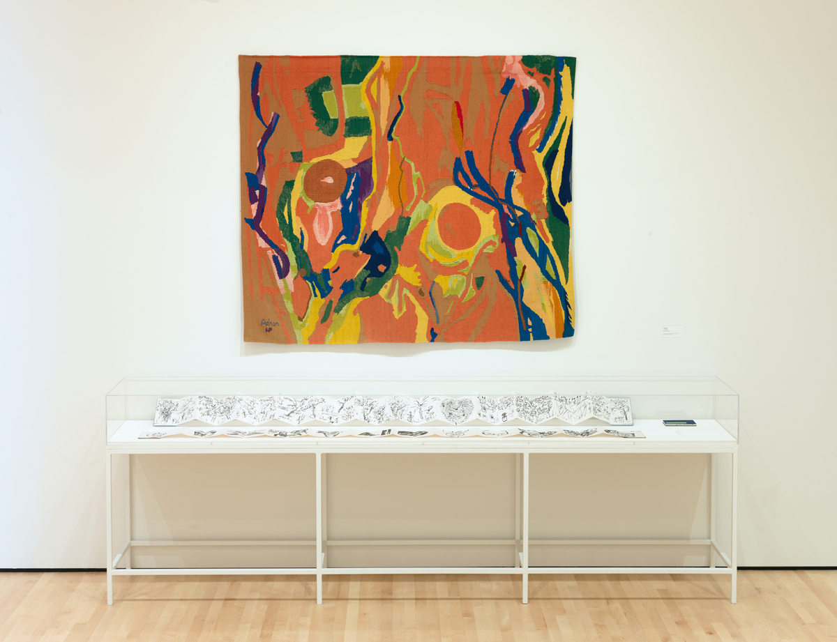 Etel Adnan, Installation view of 'New Work,' 2018.