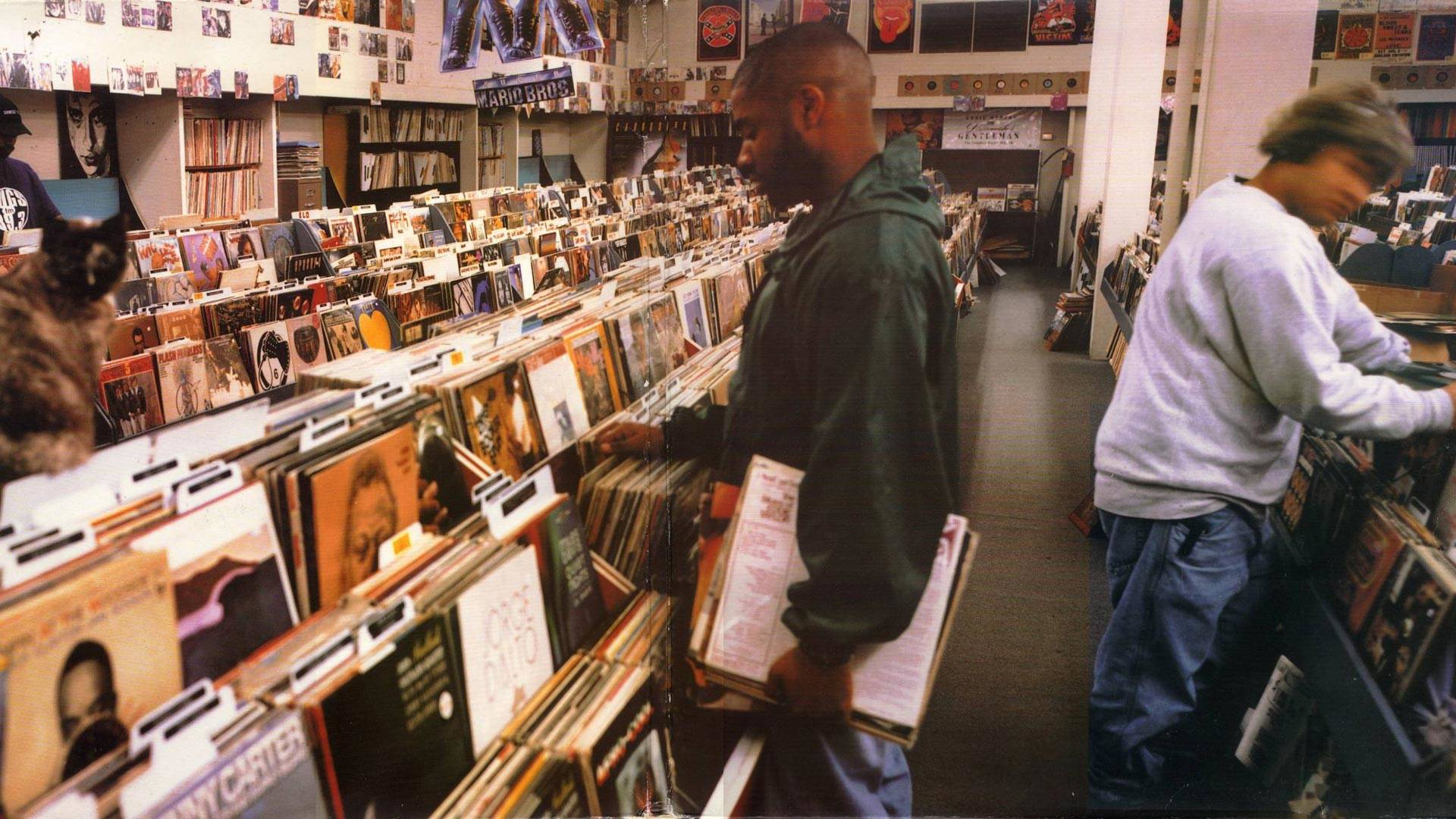 Brian Cross shot the cover for DJ Shadow's 'Endtroducing' at a now-closed record store in Sacramento. B+