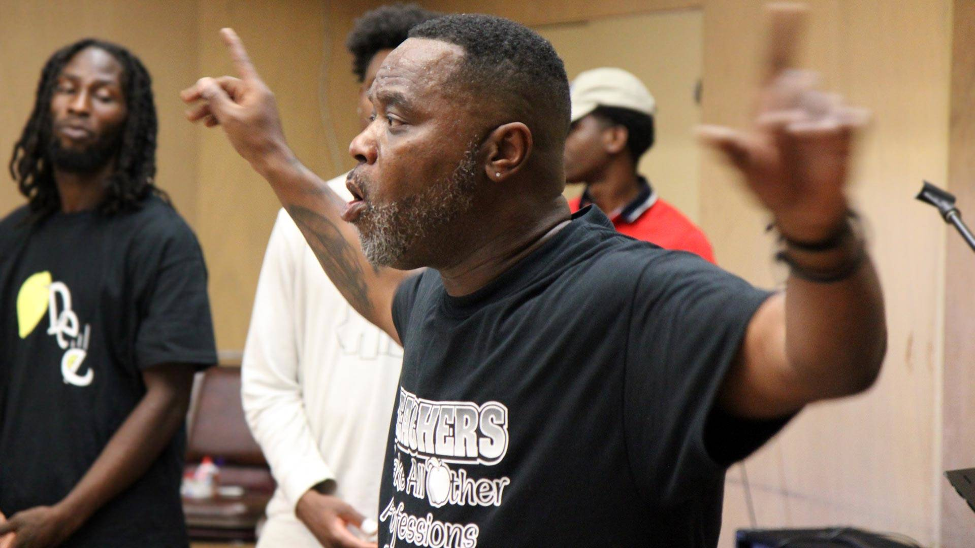 Eric Butler, who practices restorative justice at an Oakland school, is featured in the new documentary 'Circles.' Courtesy Cassidy Friedman/Stories Matter Media