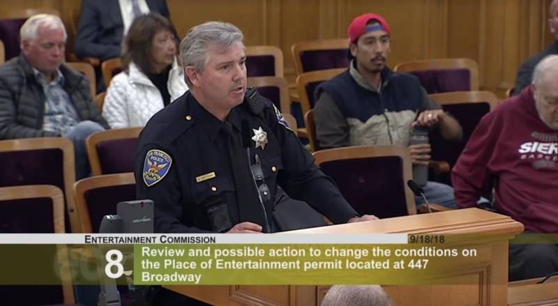 SFPD officer Steve Matthias, named in a racial discrimination lawsuit, appears before the Entertainment Commission in 2018.