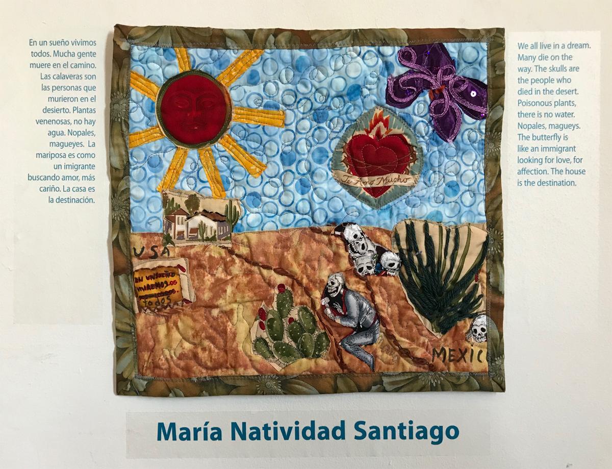 A textile piece by María Natividad Santiago in 'Undocumented Heart.'