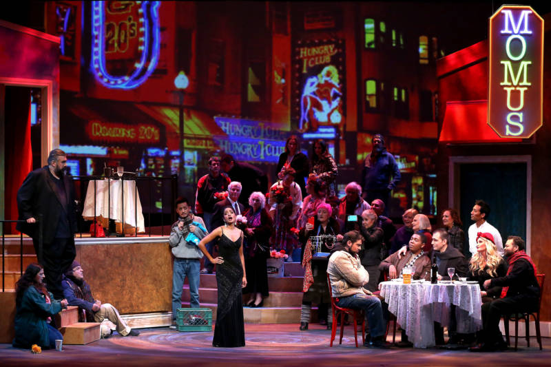 In this rendition of La bohème, put on by West Bay Opera, the cast congregates in North Beach, instead of the Left Bank in Paris.