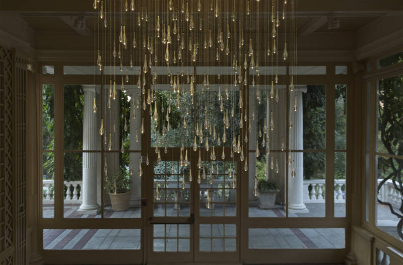 """Light Shower,"" on display in the villa's Solarium, will stay on permanently at Montalvo Arts Center past the closure of ""Stories in Light"" in March, 2019."