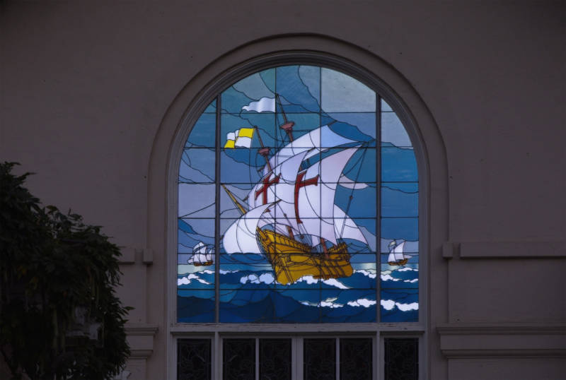 "Stories in Light includes ""Dawn Treader,"" the original inspiration for Bruce Munro's Narnian exploration at the Montalvo Art Center. He illuminated this 106-year-old stained glass window so as to create the illusion of movement."