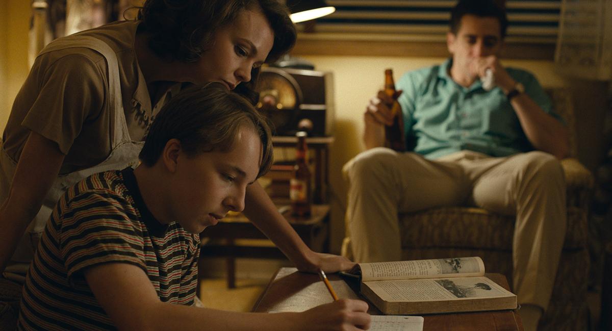 Carey Mulligan as Jeanette Brinson, Ed Oxenbould as Joe Brinson, and Jake Gyllenhaal as Jerry Brinson in Paul Dano's 'Wildlife.'
