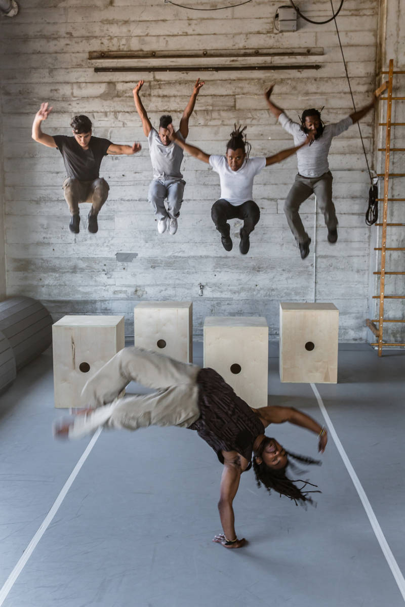 (L–R) Adonis Martin, Delvis Friñon, José Abad, Antoine Hunter and (front) Jarrel Phillips in Joanna Haigood's 'Picture Bayview Hunters Point' for Zaccho Dance Theatre.