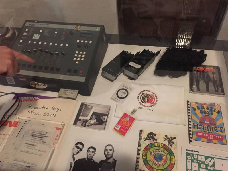 Pieces of Beastie Boys memorabilia at City Arts & Lectures, Nov. 6, 2018.