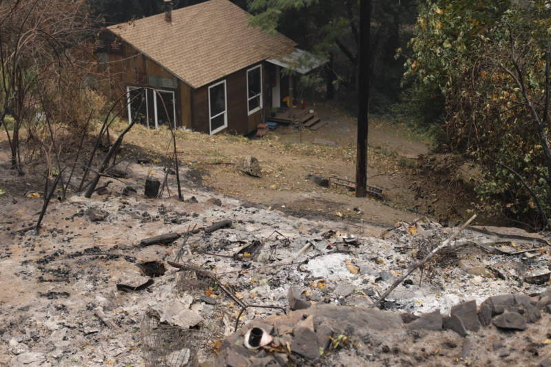 The remains of Betsy Cowley's house in Pulga, which was razed in the Camp Fire.
