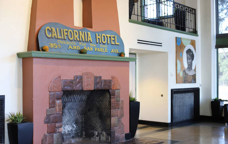 The lobby of the California Hotel in West Oakland.