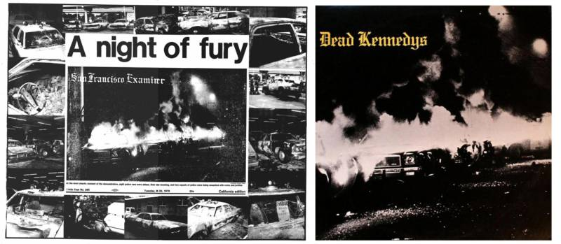 "At left, the front page of the San Francisco Examiner after the ""White Night"" riots followed Dan White's voluntary manslaughter verdict; at right, the cover of the Dead Kennedys' 'Fresh Fruit for Rotting Vegetables.'."