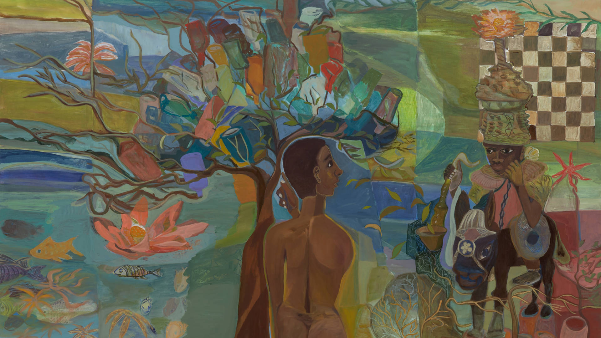 Ficre Ghebreyesus, Detail of 'Nude with Bottle Tree,' 2008. Courtesy of the Estate of Ficre Ghebreyesus