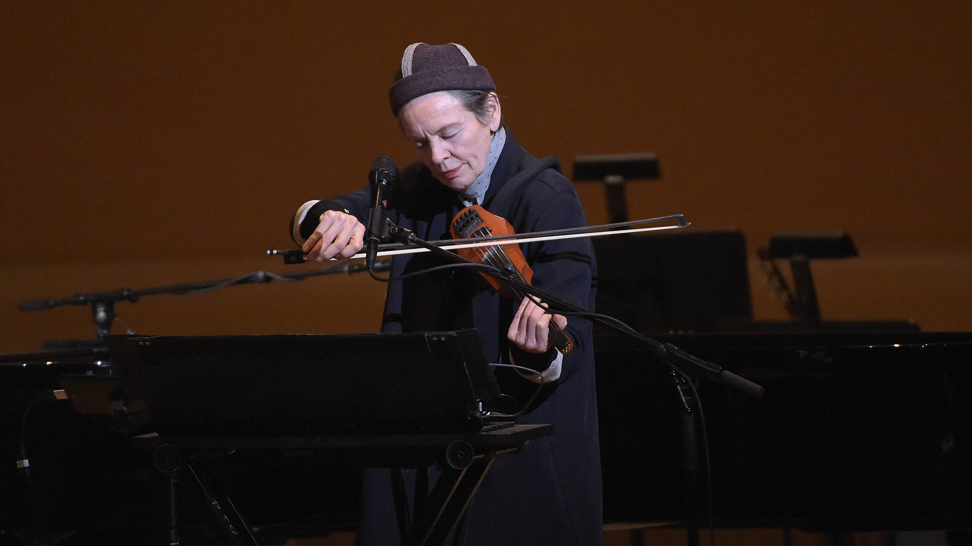 Laurie Anderson performs during the Tibet House US 30th Anniversary Benefit Concert to celebrate Philip Glass's 80th birthday at Carnegie Hall in 2017. Jason Kempin/Getty Images for Tibet House US