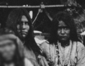 Close-up of Lozen and Dahteste with Geronimo and fellow Apache Indian prisoners on their way to Florida by train (1886).