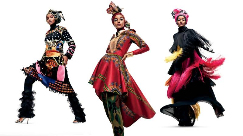 (L-R) Dian Pelangi in an ensemble from the Co-Identity Collection; Naima Muhammad in an ensemble from House of Coqueta; Dian Pelangi in an ensemble from the Co-Identity Collection.
