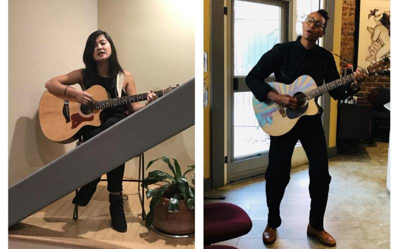 (L–R) Bianka Alloyn and Alfa Garcia perform at 'Romantic Songs of the Patriarchy' at the Women's Building in San Francisco.