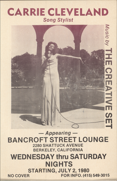 A poster of one of Carrie Cleveland's performances (courtesy of Carrie Cleveland)