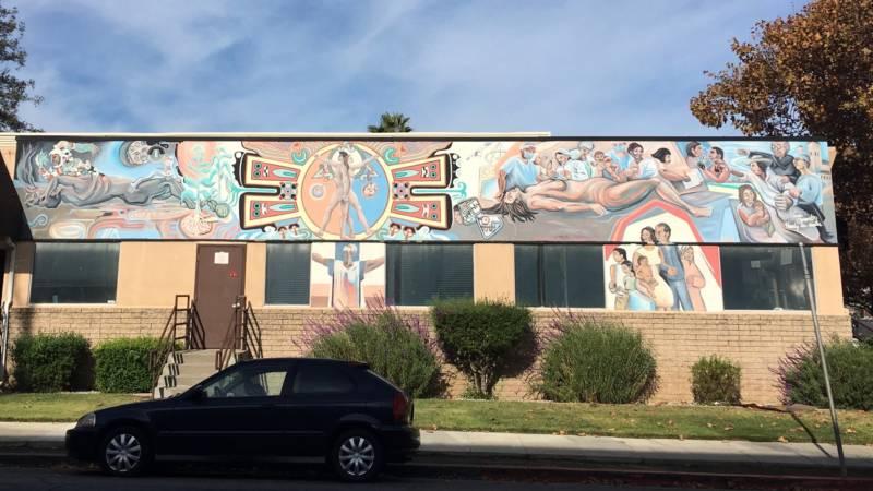 """""""La Medicina y La Comunidad Mural"""" (1990) by Gustavo Bernal, on the Gardner Health Center off of 5th and East Virginia in San Jose."""
