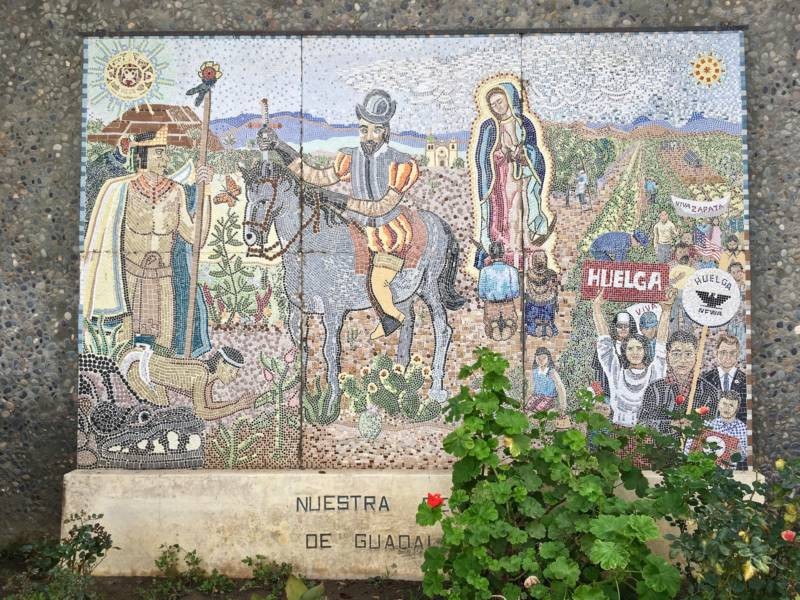 """Nuestra Senora de Guadalupe"" by Katherine M. Oppenheimer, Marie G. Hutton, and Lois C. Cronemiller. The mosaic is visible from the street but you'll want to walk on to the campus of Our Lady of Guadalupe Church in San Jose to get a closer look."