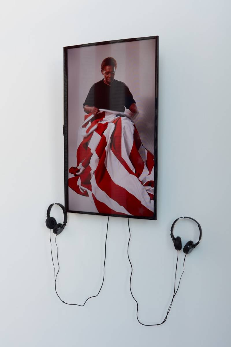 Beverly Henry in 'Pledge,' a work of video art by Sharon Daniel.
