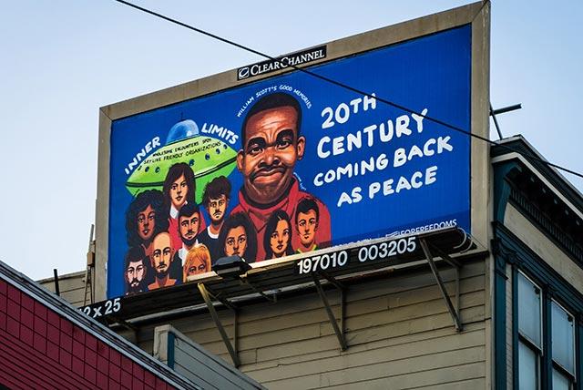 William Scott's billboard above San Francisco.