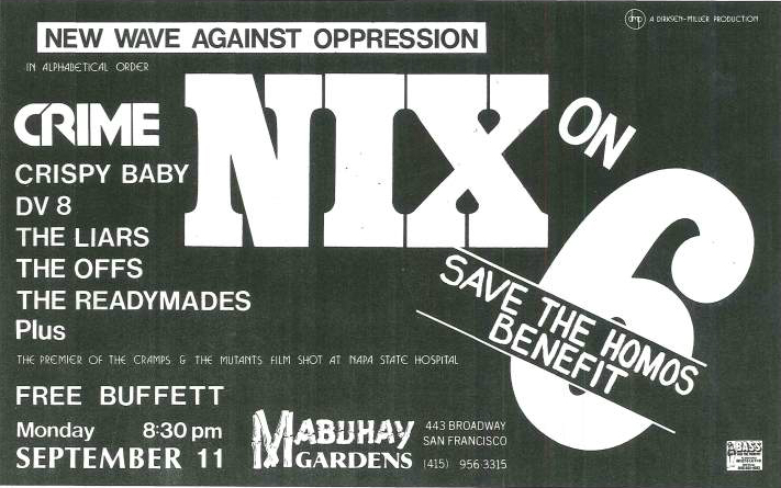 A flyer for a 'Nix on 6' benefit at Mabuhay Gardens.