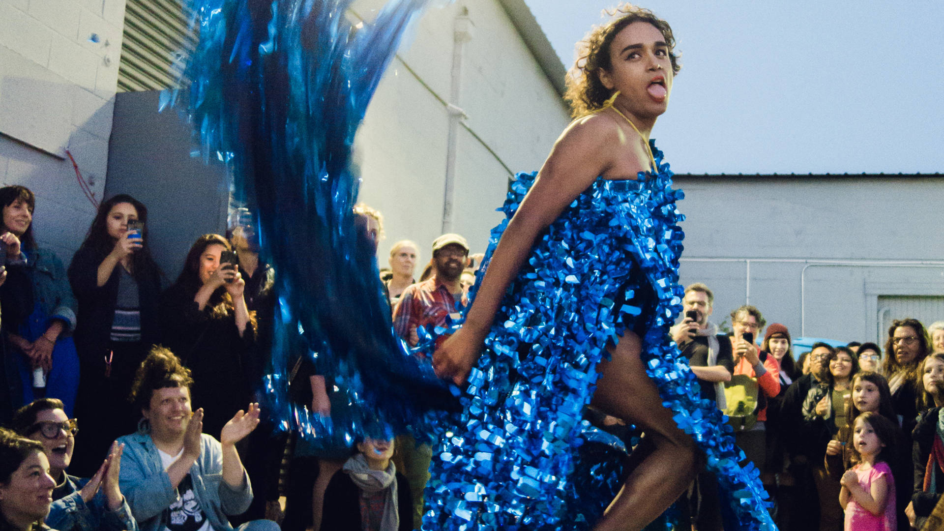 A model in BONANZA's fashion show, 'The Young and Restless' at Recology on Sept. 21, 2018. Courtesy of the artists