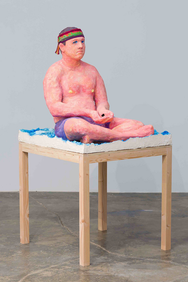 Hannah Greely, 'Beholder,' 2016; Gypsum cement, aqua resin, wood, cardboard, tempera, bandana, marbles.