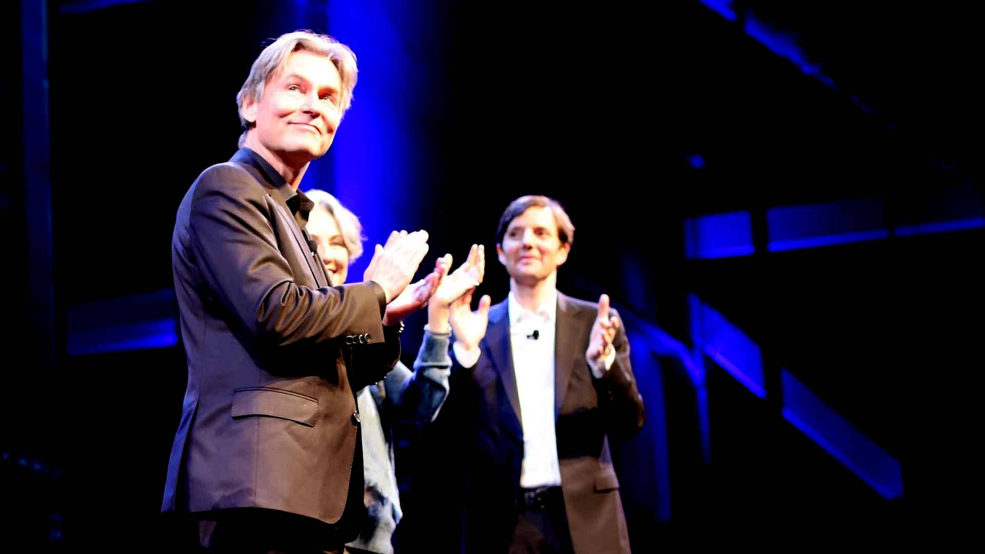 Esa-Pekka Salonen accepts his appointment as new Music Director of the San Francisco Symphony at a welcome party, Dec. 5, 2018. Gabe Meline/KQED