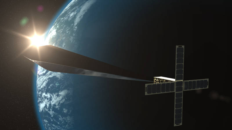 """A conceptual rendering of """"Trevor Paglen: Orbital Reflector, co-produced and presented by the Nevada Museum of Art."""" The final version of the nonfunctional satellite was just launched into space."""