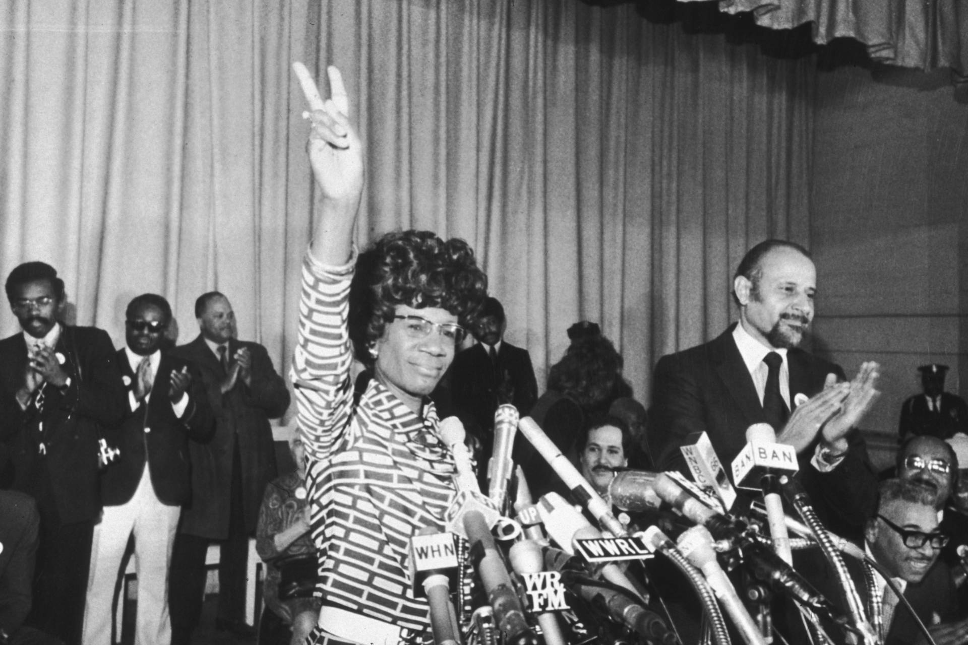 New York City says it will erect a statue of Shirley Chisholm, the first black woman elected to Congress. Chisholm is seen here in a Brooklyn church in January 1972, announcing her bid for the Democratic nomination for president. Don Hogan Charles/Getty Images