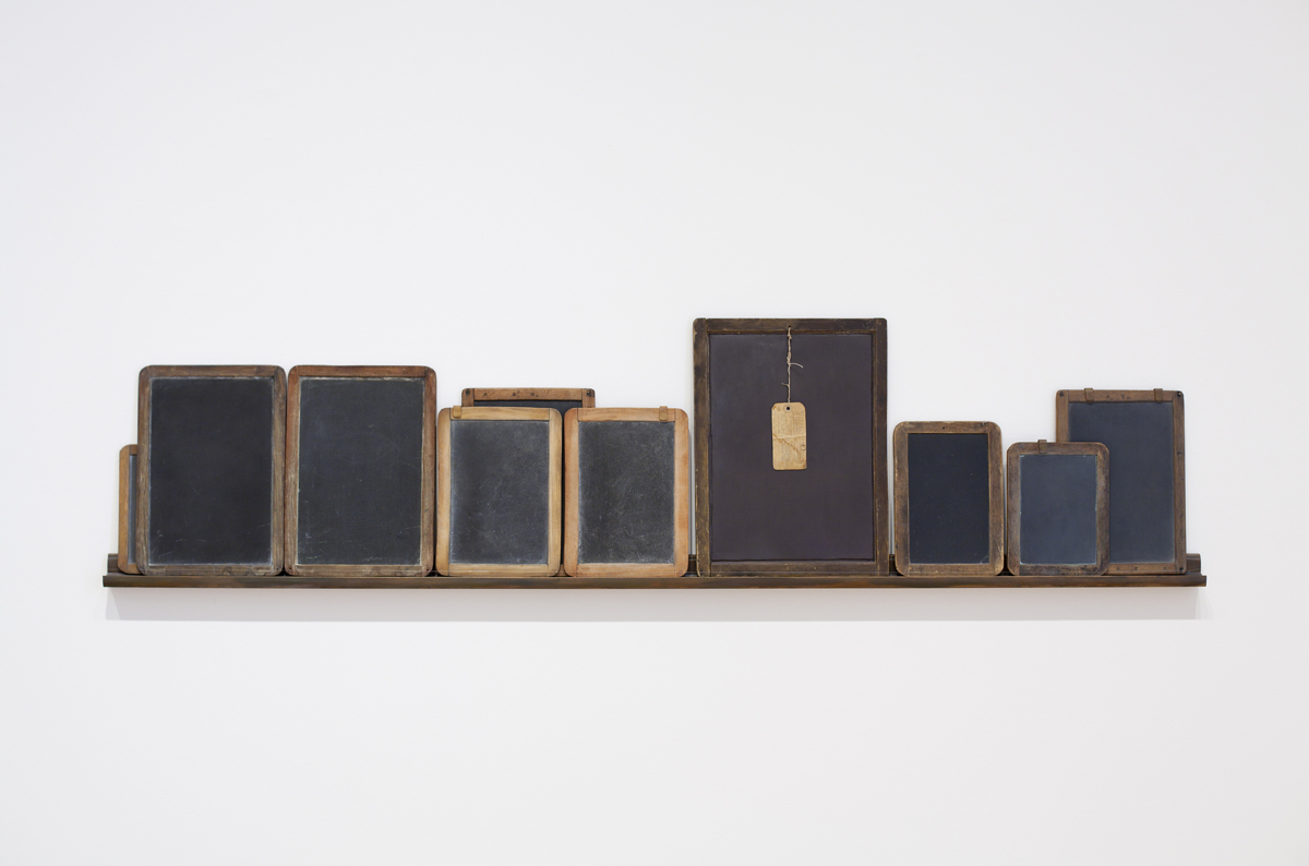 Vija Celmins, 'Blackboard Tableau #1,' 2007–10; three found tablets and seven made objects (wood, acrylic paint, alkyd oil, pastel, string, paper, and graphite).