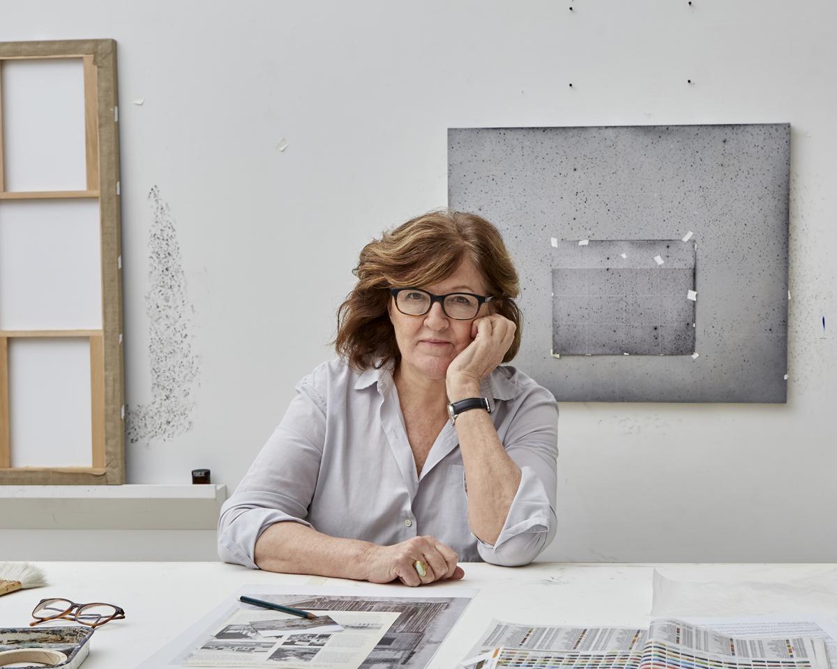 Vija Celmins in her studio, 2018.