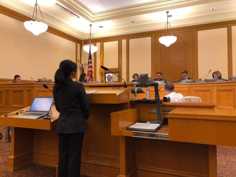 Anh Thang Dao-Shah, SF Arts Commission senior racial equity and policy analyst, presents the new racial equity statement and plan before the arts commission board. Jan 7, 2019.