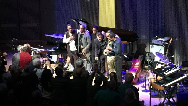 Danilio Pérez, Terence Blanchard, Herbie Hancock, John Patitucci, Terrace Martin and Brian Blade (L–R) take a bow after performing the music of Wayne Shorter at SFJAZZ, Jan. 3, 2019.