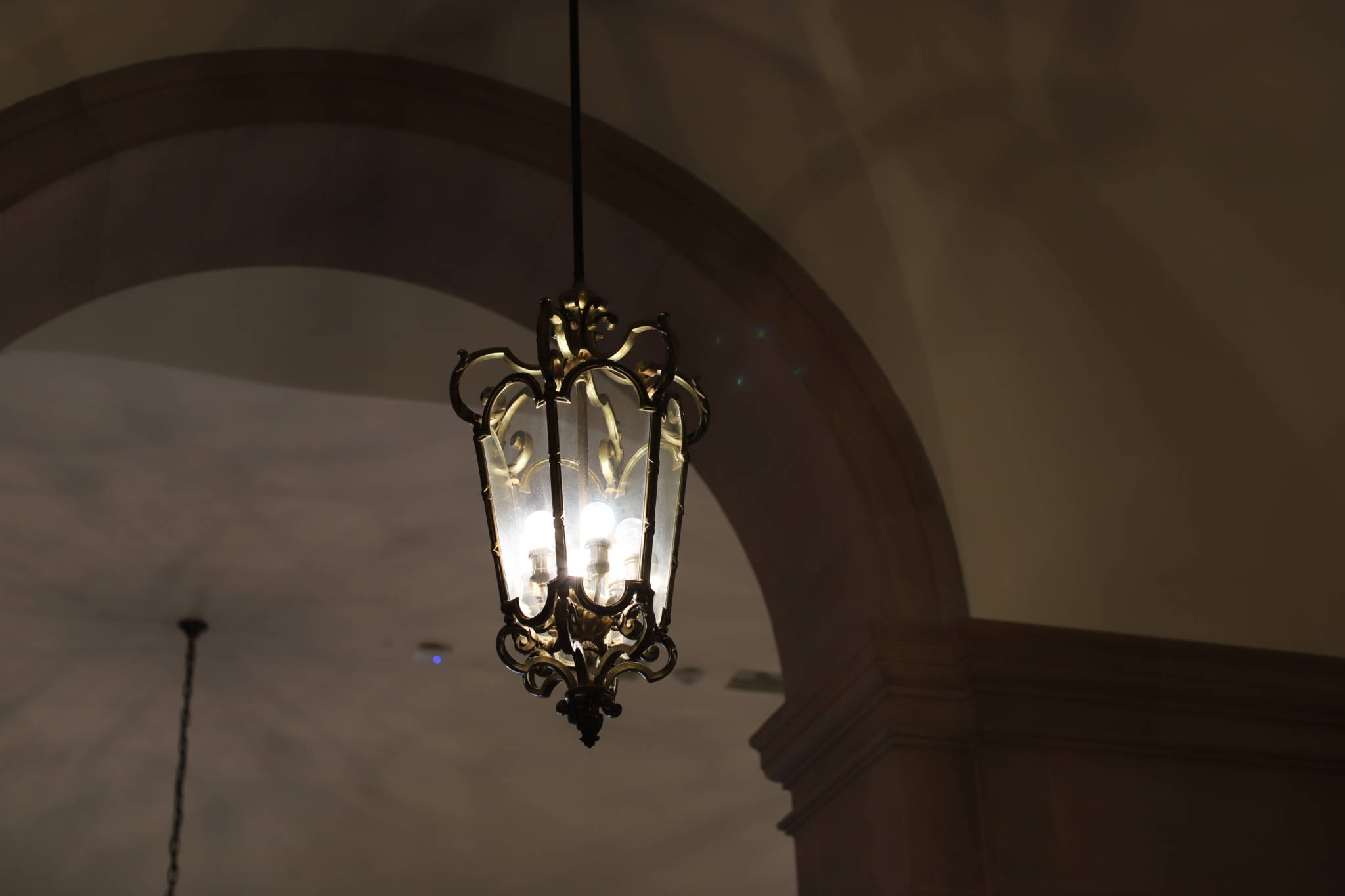 One of the hanging light fixtures in the Veterans Building lobby.
