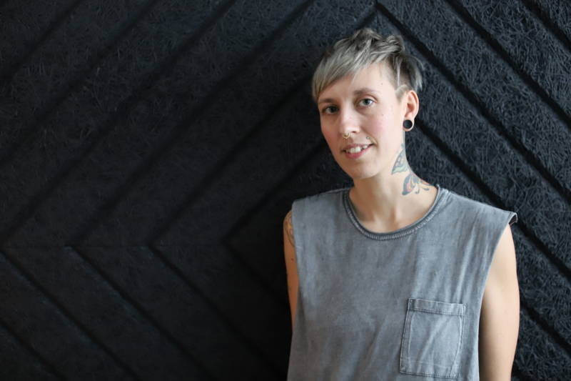 Sarah Sexton, founder of the fest and label Oakland Indie Mayhem, manages Bandcamp's record shop and venue.