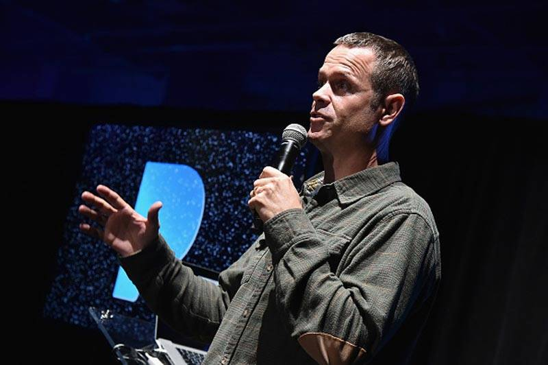 Co-founder of Pandora Radio Tim Westergren speaks on stage in December 2016 in New York City.