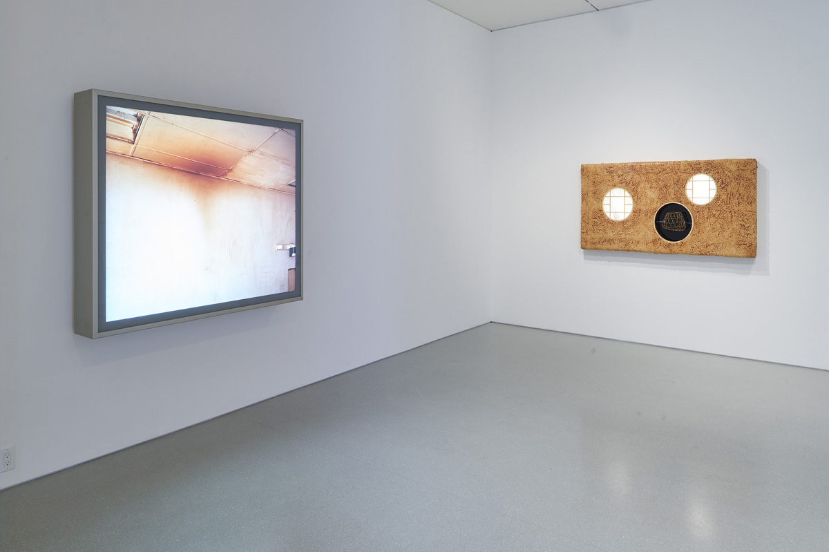 Installation view of 'Laws of Motion,' with work by Jeff Wall and Anicka Yi.