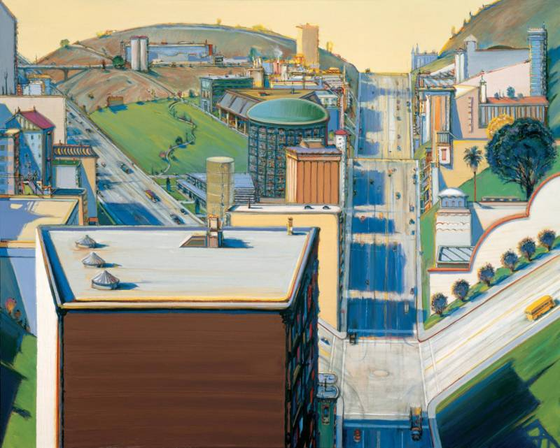 Wayne Thiebaud, 'Valley Streets,' 2003; San Francisco Museum of Modern Art, the Doris and Donald Fisher Collection; © Wayne Thiebaud / Licensed by VAGA, New York.
