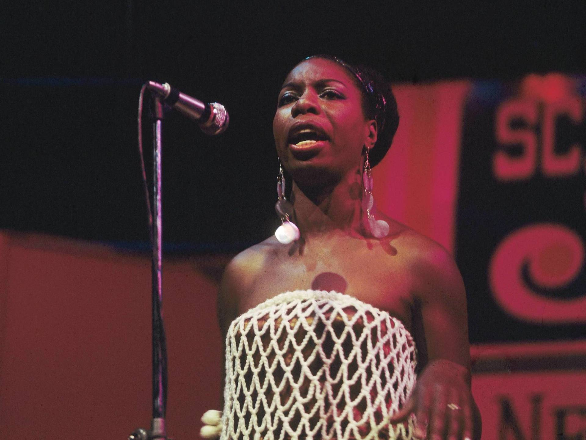 Nina Simone onstage at the Newport Jazz Festival in 1968. David Redfern/Redferns/Getty Images