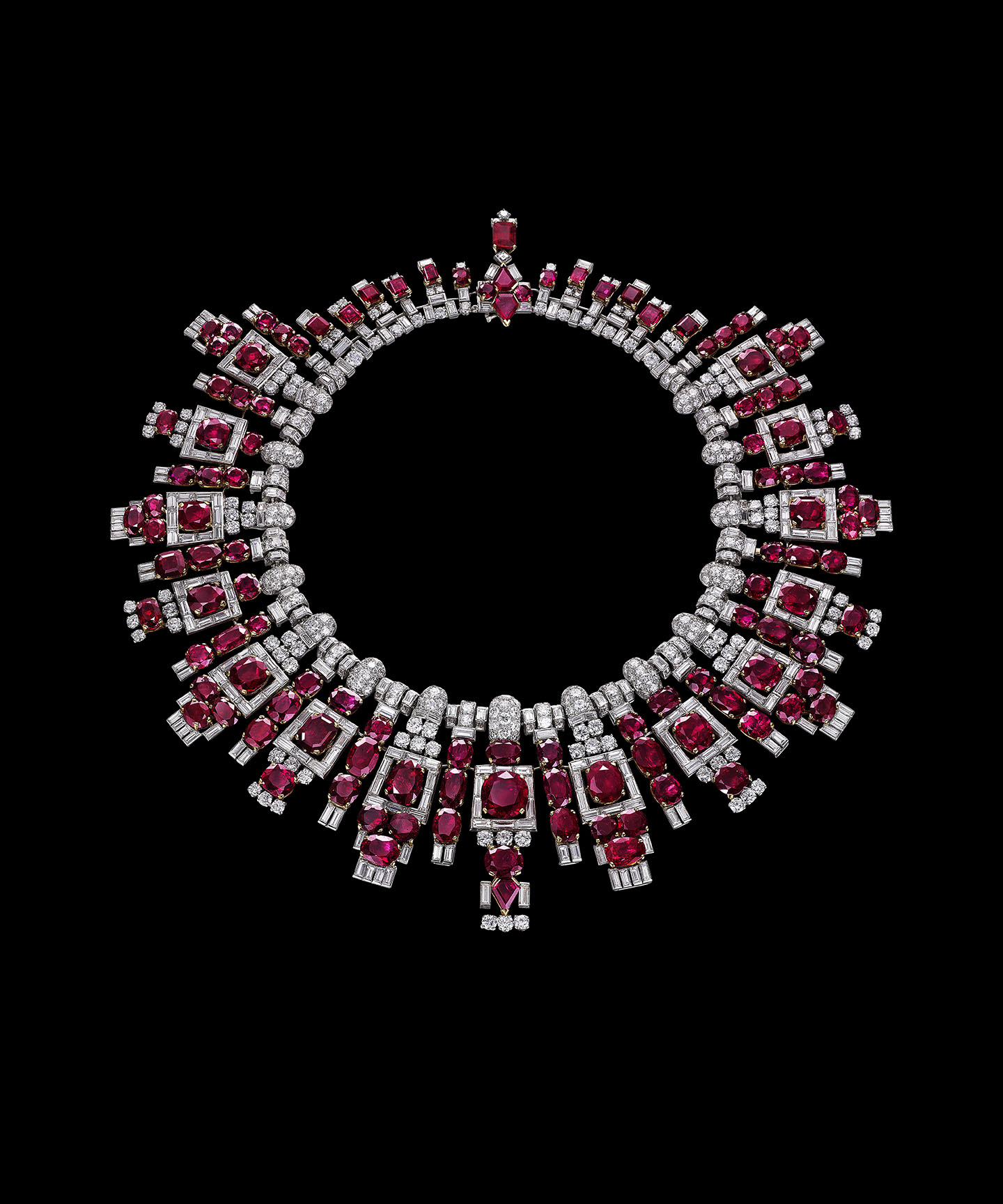 Nawanagar ruby necklace, Cartier, London, 1937. Platinum, rubies, and diamonds, 8 1/16 x 7 11/16 in.