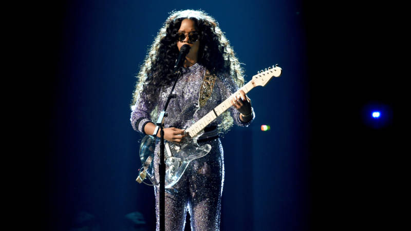 H.E.R. performs onstage during the 61st Annual GRAMMY Awards at Staples Center on February 10, 2019 in Los Angeles, California.