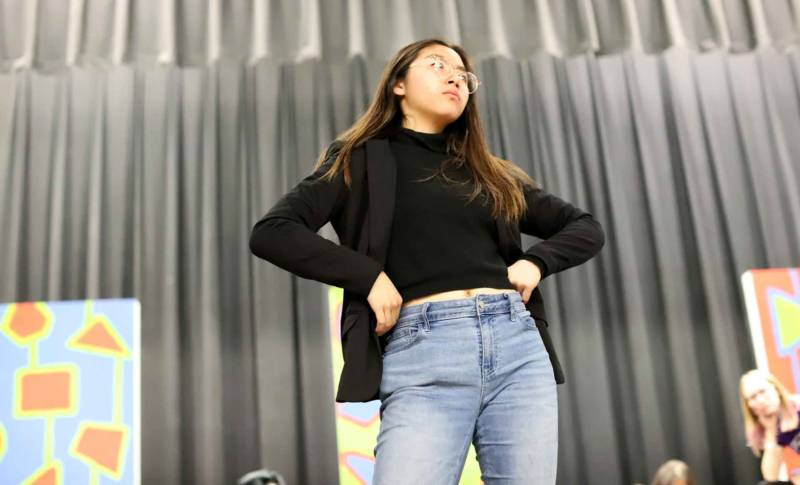 Kimberly Wong rehearsing as Velma in 'Hairspray' at Oakland High School.