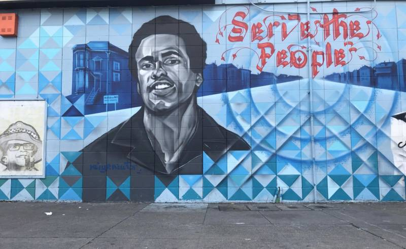 Refa One's mural honoring Huey Newton of the Black Panthers.