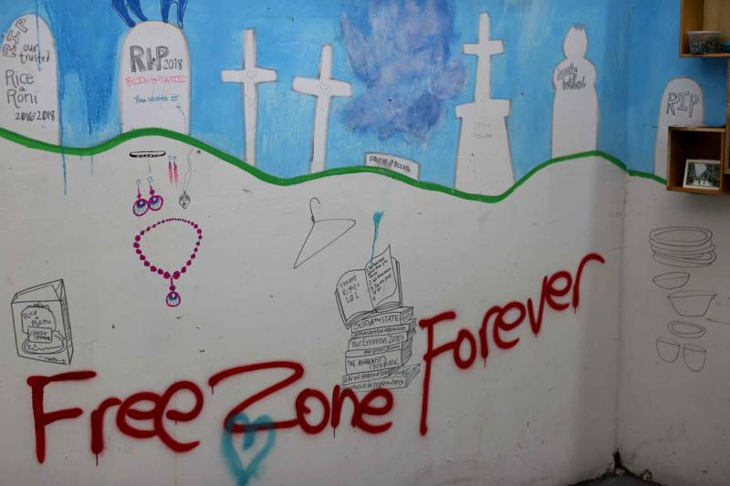 "A tenants' shrine to the ""Free Zone"" at the Vulcan in East Oakland."
