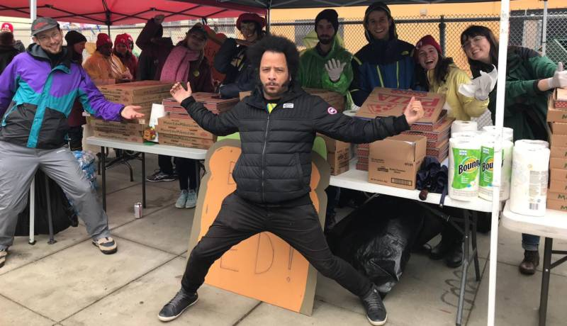 Boots Riley at the Oakland teachers' strike on Feb. 26, 2019.