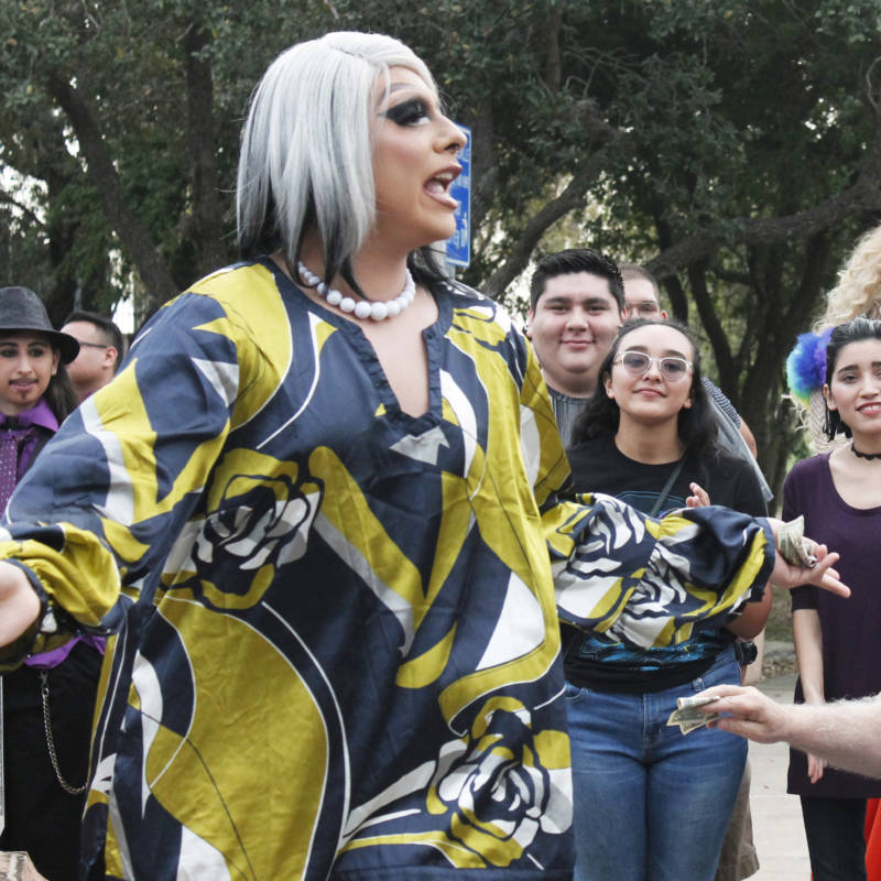 "Drag queen Arina Heys wanted to participate in the No Border Wall Protest Drag Show to showcase the beauty of the Latin culture in the region. ""We are just like any other community ... lovable, humble and welcoming,"" the performer said."