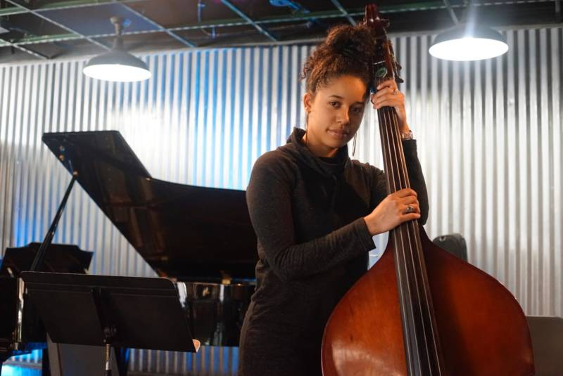 Aneesa Strings and an upright bass bond at Oaktown Jazz Workshops