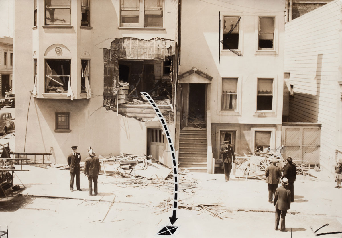 Photographer unknown, 'Gas Explosion at home on the corner of Buchanan and Grove, San Francisco,' June 6, 1938.
