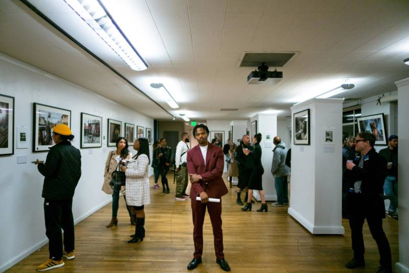 Adrian Burrell at the opening of his photography exhibition, 'Mama's Babies,' at 1090 Gallery in San Francisco.